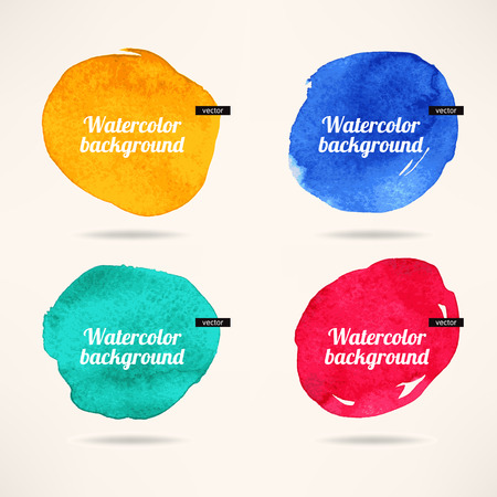 set of four colorful watercolor circles backgrounds Vector