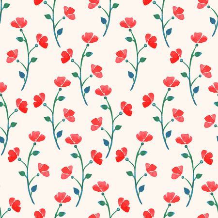 cute watercolor seamless background with red poppies Vector
