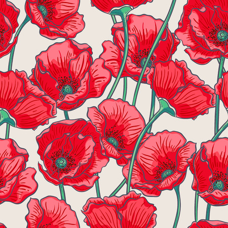 beautiful summer nature background with red poppies Vector