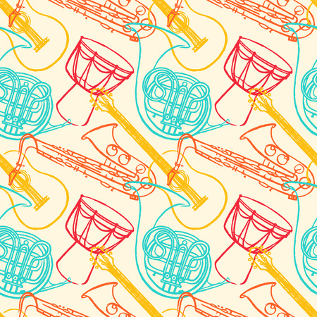 cute seamless pattern with different musical instruments Vector