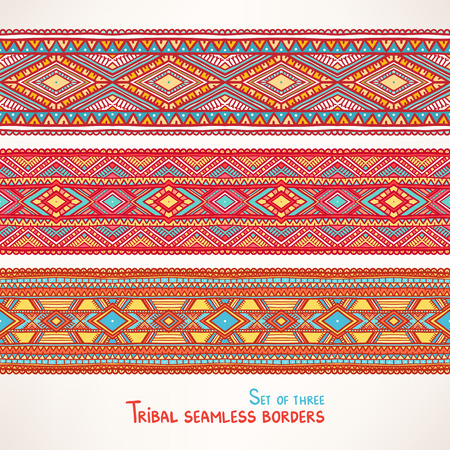 Set of three beautiful tribal seamless borders with triangles and rhombuses Vector