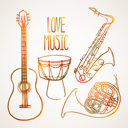 watercolor vector set of four different musical instruments Vector