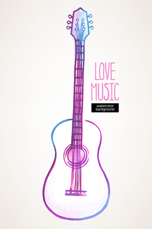 beautiful watercolor hand drawn guitar on a beige background Vector