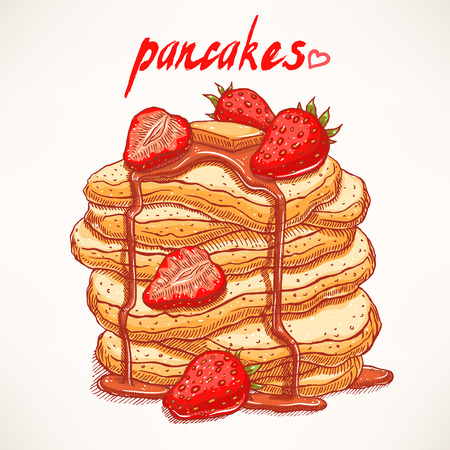delicious hand-drawn pancakes with strawberries and maple syrup