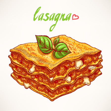 gravy: appetizing piece of lasagna with beef and basil leaves