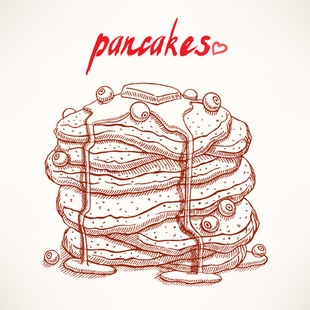 delicious hand-drawn pancakes with blueberry and maple syrup Vector