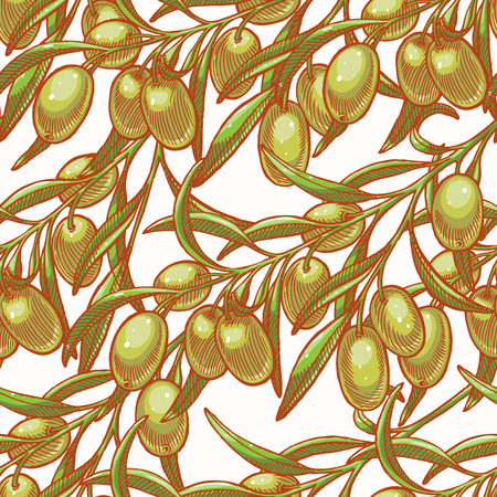 Seamless background with hand drawn olive tree twigs Vector