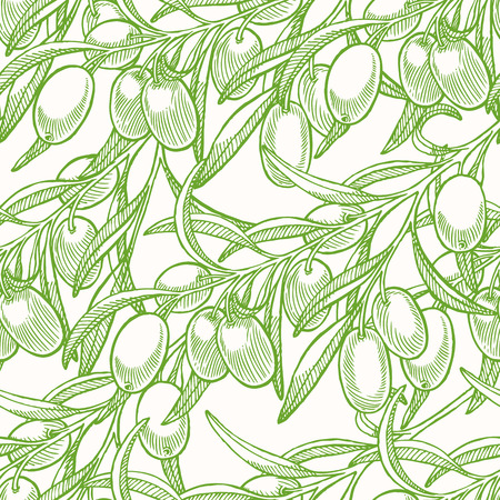olive leaves: Seamless background with green hand drawn olive tree twigs