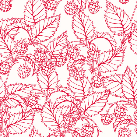 raspberry pink: Beautiful pink seamless background with branches of delicious raspberry