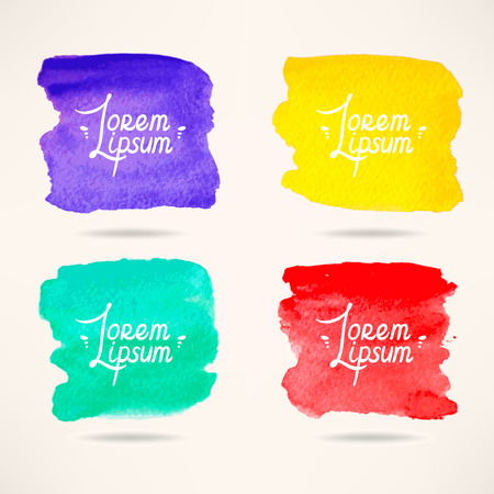 set of four colorful watercolor square backgrounds