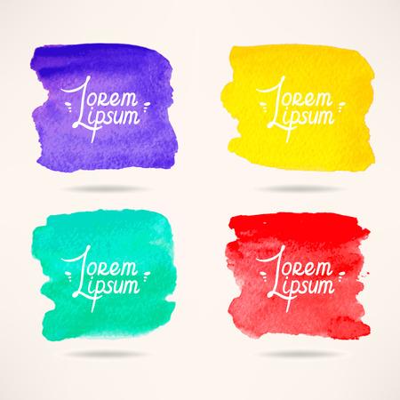 4 개의 다채로운 수채화 사각형 배경 세트 스톡 콘텐츠 - 33751570