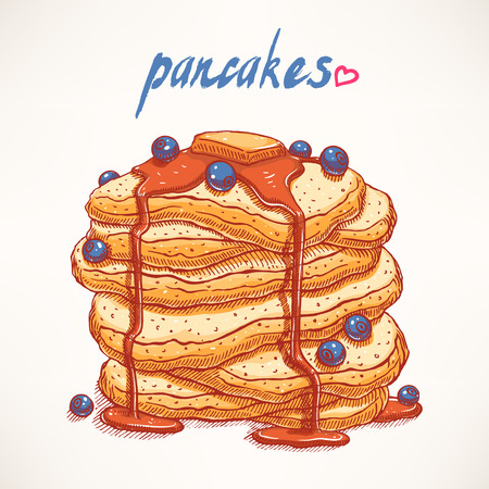 delicious hand-drawn pancakes with blueberries and maple syrup Vector