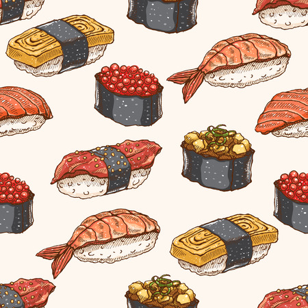 Cute background seamless background with delicious variety of hand-drawn sushi Vector