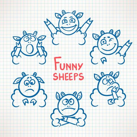 emotions faces: Handgezeichnete niedlichen Schafe mit unterschiedlichen Emotionen Gesichter