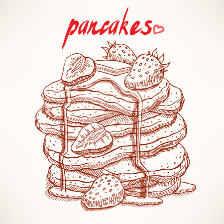 delicious sketch pancakes with strawberries and maple syrup