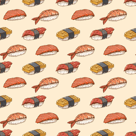 brown rice: Cute background seamless background with delicious variety of hand-drawn sushi