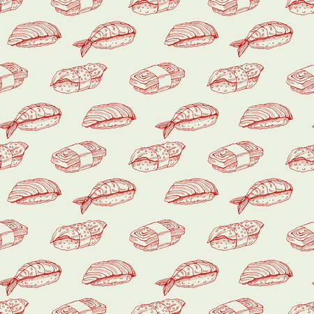 brown rice: Cute background seamless background with delicious variety of sketch sushi