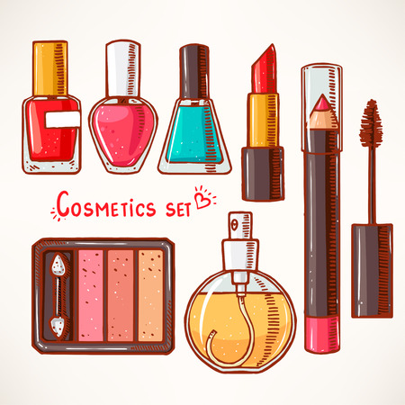 make up brushes: set with womans decorative cosmetics. hand-drawn.