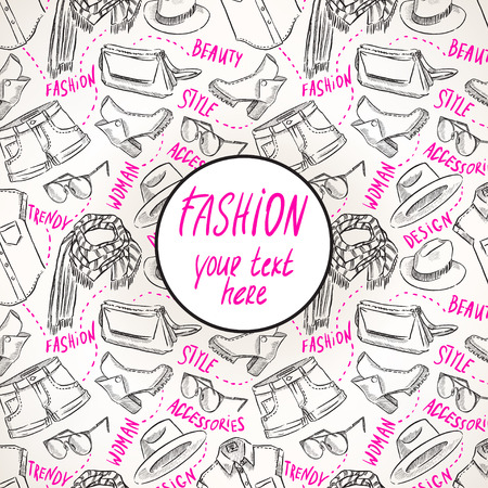 background with womens clothing and accessories. hand-drawn illustration Vector