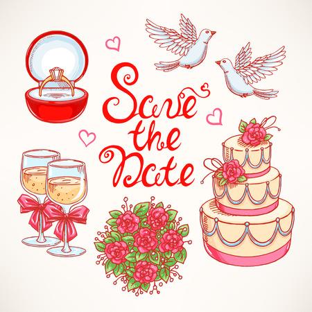 paloma: sistema lindo para una boda con un par de palomas, pastel de bodas y el ramo. ilustraciones dibujadas a mano.
