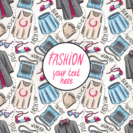background with womens clothing and accessories and place for text Vector