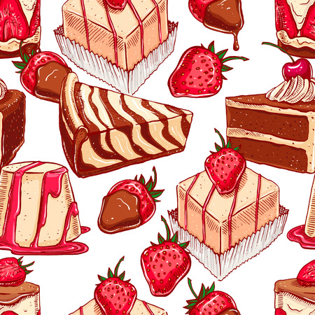 fondue: cute seamless pattern with a variety of appetizing desserts
