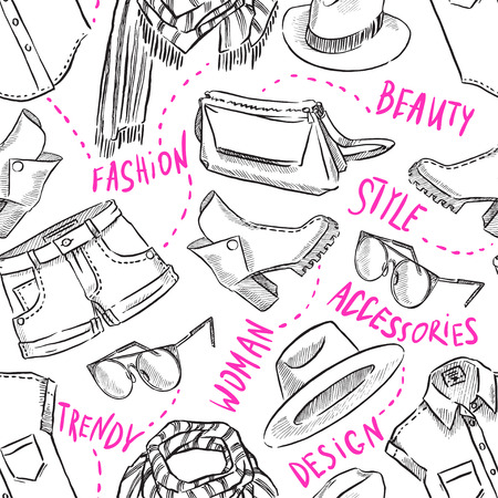seamless background with womens clothing and accessories. hand-drawn illustration Vector