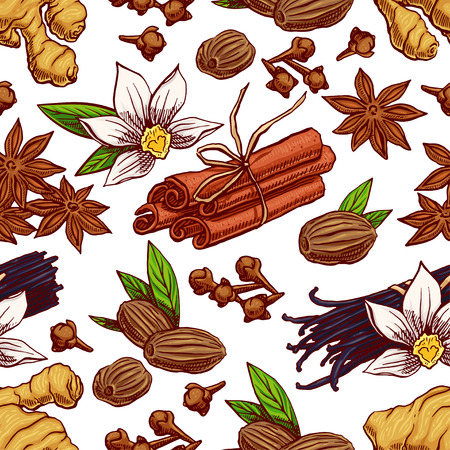 nutmeg: cute seamless background with different hand-drawn spices.