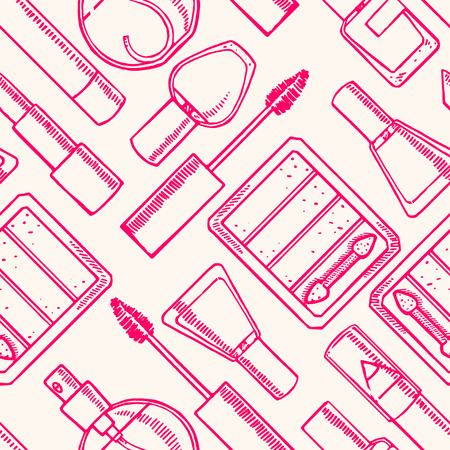 Seamless background with sketch different decorative cosmetics. Vector