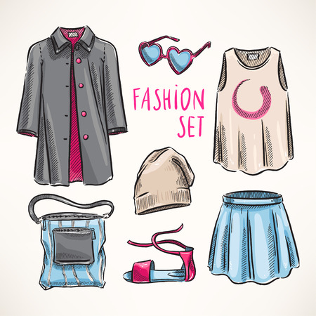 jeans skirt: fashion set with womens clothing and accessories. hand-drawn illustration Illustration