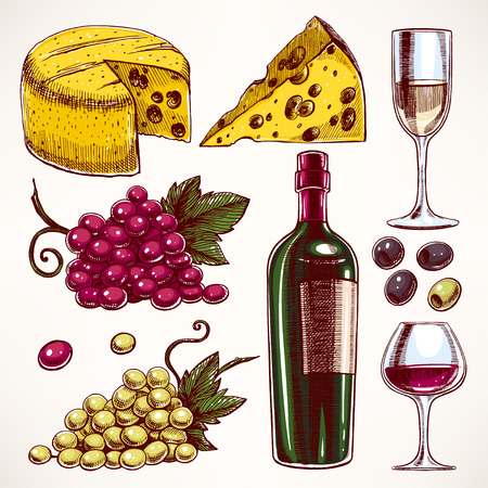 set with a bottle and glasses of wine, bunch of grapes and cheese