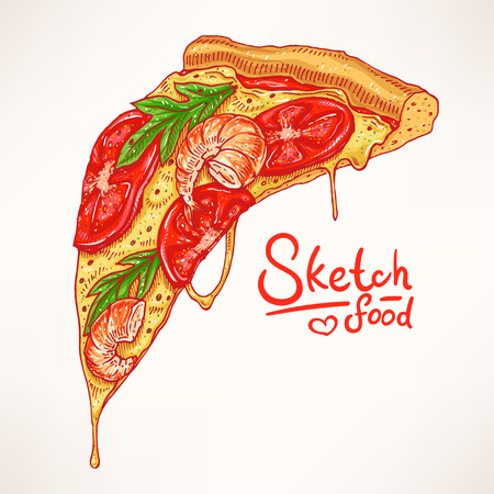a slice of hand-drawn appetizing pizza with shrimps