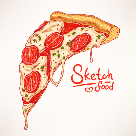 pizza dough: a slice of hand-drawn appetizing pizza with Margherita