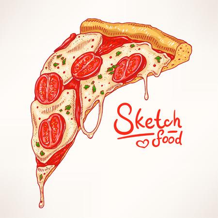 ein Stück von handgezeichneten appetitlich Pizza mit Margherita
