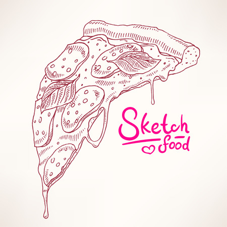 pepperoni: a slice of sketch appetizing pepperoni pizza