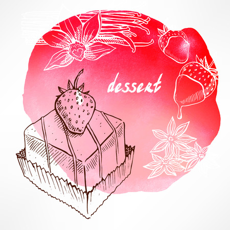 sweet strawberry cake on watercolor pink background Illustration
