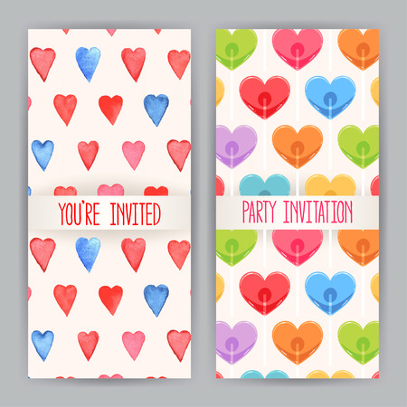 two nice background for greeting cards for Valentines Day with hearts Vector