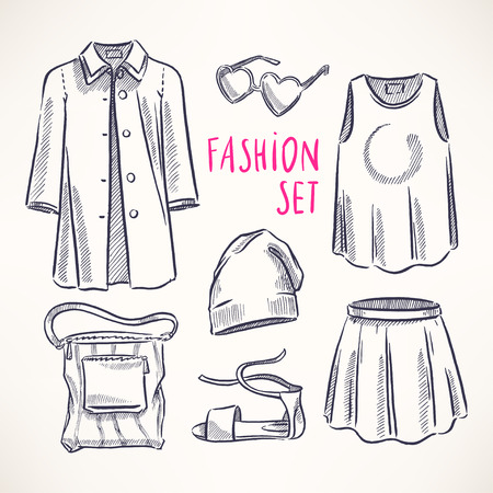 fashion set with womens clothing and accessories. hand-drawn illustration Vector