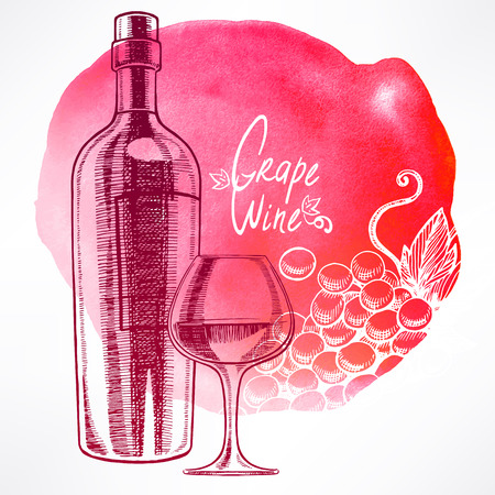 Beautiful red watercolor background with a bottle of wine, a wineglass and grapes. hand-drawn illustration Vector