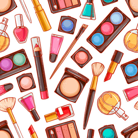 Seamless background with different decorative cosmetics. Lipstick, powder, eye shadow Vector
