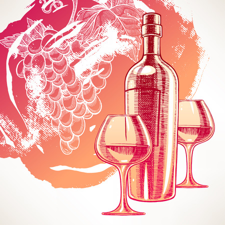 Beautiful background with a bottle of wine, two wineglasses and grapes. hand-drawn illustration Vector