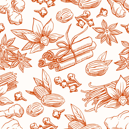 nutmeg: cute seamless background with different sketch spices. Vanilla, star anise, ginger