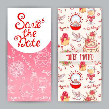 two cute backgrounds for greeting cards for wedding Vector