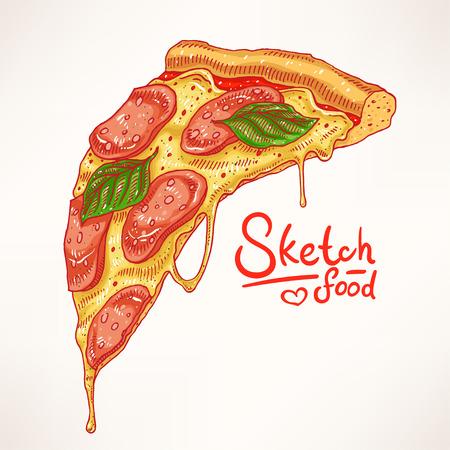 una rebanada de pizza de pepperoni apetitosa dibujada a mano Ilustración de vector