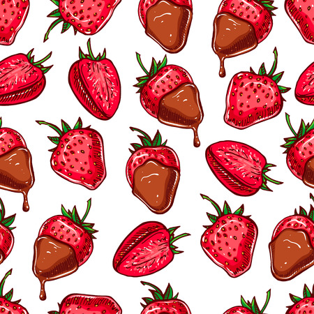 fondue: cute seamless background with strawberries and chocolate Illustration