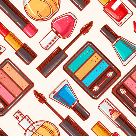 Seamless background with sketch different decorative cosmetics. Lipstick, nail polish, eye shadow Vector