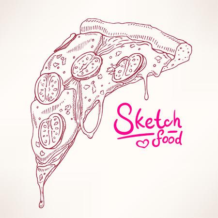 margherita: a slice of sketch appetizing pizza Margherita