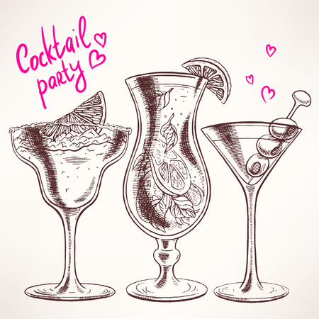 cocktail party: Set with three different cocktails. hand-drawn illustration - 2