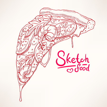 a slice of sketch appetizing pizza with shrimps Illustration