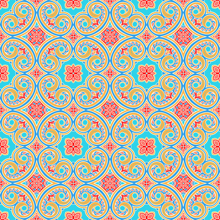 orange pattern: beautiful natural seamless vintage blue and orange pattern with flowers and leaves